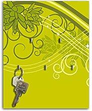 Dalinda Schlüsselbrett mit Design grüne Blüten