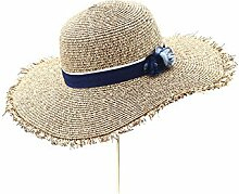 DALL Sonnenhüte LY-215 Urlaub Frauen-Sommer-Hut Visier Hut Die Sonne Hut Strohhut Strandmütze Strand Sonnenschutz (Farbe : Khaki)