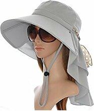 DALL Sonnenhüte Ly-41 Von Der Hitze Isoliert Atmungsaktiv Visier Hut Die Sonne Hüte Sonnenschutz Winddichtes Seil Strohhut Strandmütze UV-Schutz (Farbe : Hellgrau)