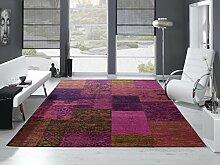 DALLIANCE ALLOVER Vintage Patchwork Velour Teppich in lila, Größe: 90x160 cm