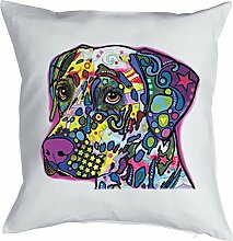 Dalmatiner - Bezug für Kissen - Hunde Neon Pop Art Motiv - Dalmatian - buntes Hunde Portrait - Motiv Kissenhülle Deko 40x40cm weiß : )