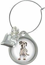 Dalmatiner Bild Design WEINGLAS ANHÄNGER MIT SCHICKER Perlen