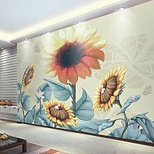 Dalxsh Fototapete, handbemalt, Retro-Sonnenblume,