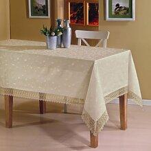 Damast Elegante Tischdecke mit Spitze Rechteckig 160x220 cm Creme Beige Weihnachten KDKC
