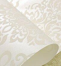 Damast geblümten Tapete 3D für Wohnzimmer Schlafzimmer Home Decor Non-Woven geprägten Europäischen Tapeten Rollen, cremig-weiß, 5,3 qm.