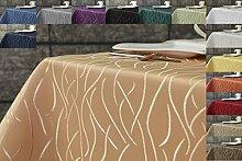 Damast Streifen Tischdecke 135 rund von First-Tex-orange