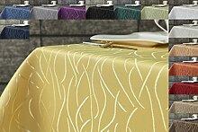 Damast Streifen Tischdecke 180 rund von First-Tex-gelb