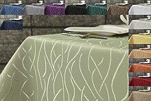 Damast Streifen Tischdecke eckig 110x110 von First-Tex-lindgrün