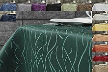 Damast Streifen Tischdecke eckig 110x160 von First-Tex-dunkelgrün