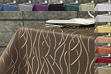 Damast Streifen Tischdecke eckig 130x220 von First-Tex-dunkelbraun