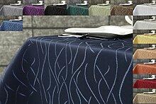 Damast Streifen Tischdecke eckig 130x260 von First-Tex-dunkelblau