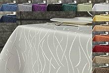 Damast Streifen Tischdecke eckig 130x300 von First-Tex-creme
