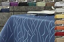 Damast Streifen Tischdecke eckig 130x300 von First-Tex-hellblau