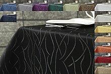 Damast Streifen Tischdecke eckig 130x300 von First-Tex-schwarz