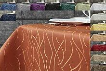 Damast Streifen Tischdecke eckig 135x200 von First-Tex-terracotta