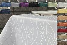 Damast Streifen Tischdecke eckig 135x200 von First-Tex-weiß