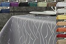 Damast Streifen Tischdecke eckig 160x300 von First-Tex-silber