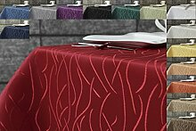 Damast Streifen Tischdecke eckig 160x360 von First-Tex-bordeaux, ro