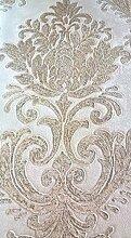 Damast Tapete Klassische Moderne in Vinyl waschbar mit Boden Klar und Damaskus A Relief Beige mit goldtönungen M4241Magnifica