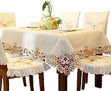 Damast textil creme gelb tischdecke aufwändig bestickt mit filigranem blume Eckig 150cm x 150cm