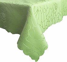 Damast Tischdecke 130x320cm Tischtuch Tischwäsche Tafeltuch Jacquard Oval Silver (Pistaziengrün)