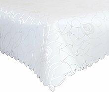 Damast Tischdecke 160x320cm Tischtuch Tischwäsche Tafeltuch Jacquard Eckig Silver (Weiß)
