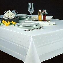 Damast - Tischdecke in weiß mit Atlaskante und Punkten (130 x 170 cm)