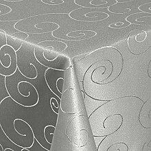 Damast Tischdecke Maßanfertigung Ornament (Grau,