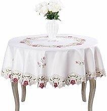 Damast-Tischdecke mit Kamelienmotiv, bestickt,
