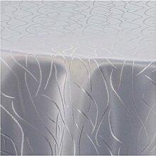 Damast Tischdecke Rund Maßanfertigung im Streifendesign 160cm Rund in Grau
