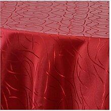Damast Tischdecke Rund Maßanfertigung im Streifendesign 180cm Rund in Bordeaux
