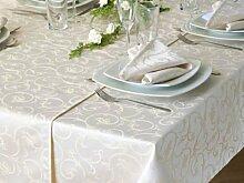 Damast-Tischdecke Sila, sekt, mit floralem Muster, 140x320