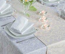 Damast-Tischdecke Sila, weiß, mit floralem Muster, 160x350