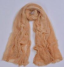 Dame Nachahmung Seide Falten Krawatte Gefärbt Schal Nationalen Stil Schal Strand Handtuch Reise Sonnenschutz Schal , hellgelb