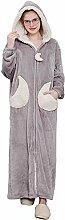 Damen Bademantel aus Fleece, mit Kapuze,