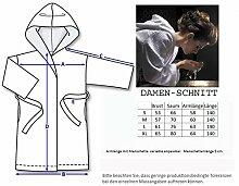 Damen Bademantel mit Kapuze, extra lang, S bis XL