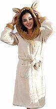 Damen Fleece-Bademantel mit Kapuze, flauschig,