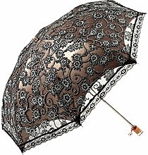 Damen Regenschirm Spitze Sonnenschirm Taschenschirm Sonnenschutz Anti-UV-(schwarz)