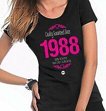Damen T-Shirt zum 30. Geburtstag, 1985Damen Geburtstag Geschenk, 30. Geburtstag Geschenkidee für Sie, kepster 30. T-Shirt, Textil, schwarz, 10-12