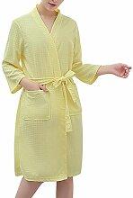 Damen Waffel Bademantel Nachtwäsche Bademantel