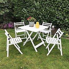 Damiware Bistro, 5 teilig, Gartenmöbel aus Buchholz, 4 x Stühle, 1 x Auszieh-Tisch, Terrassen-Möbel aus Holz, Möbel für Garten, Balkon oder Terrasse (Weiß)