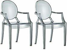 Damiware Spirit 2er set Design Stuhl mit Armlehnen transparent - wohnzimmerstuhl esszimmerstuhl hochwertige Verarbeitung, komfortables Sitzen, Für Außen und Innen geeignet. (Schwarz) (2 Stühle, Schwarz)