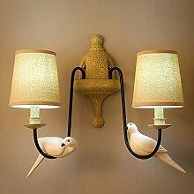Damjic American Vintage Wandleuchte Hotelflur Wandleuchte Garten Land Wandleuchte Eisen Zwei Vögel Wandleuchte W55*H50 Cm Weißes Lich