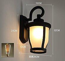 Damjic Außen-Wandleuchte Garten Lampe Retro Style Europäischen Stil Einen Korridor Wandleuchte Wasserdicht Milchglas (Mit Kunst Lampe)