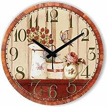 Damjic Continental Retro Minimalistische Mode Schlafzimmer Wohnzimmer Garten Dekorative Wanduhr Uhr Stumm 12 Zoll Ein