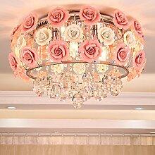 Damjic Crystal Koreanischen Garten Schlafzimmer Deckenleuchte Im Europäischen Stil Restaurant Deckenleuchte Einfache Moderne Wohnzimmer Deckenlampe Rosa 45 Cm