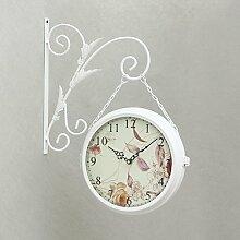 Damjic Double Wall Clock Clock Europäischen Eisen Eisen Wanduhr 50 * 40 * 8 CM
