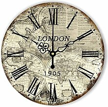 Damjic Europäische Garten Retro Minimalistische Mode Kunst Clock Watch Korean Schlafzimmer Wohnzimmer Still Watch 16 Zoll M