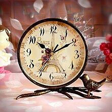 Damjic Europäische Garten Zimmer Desktop Clock Mute Bügeleisen Retro Mode Uhren Schmuck B