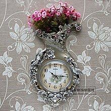 Damjic Im Europäischen Stil Wohnzimmer Wand Blume Wanduhr Mode Dekoration Garten Mute Quarzuhr 38*59CM E